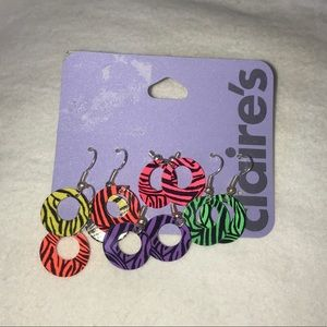 Claire's 5 SET Zebra PrintHole Cut Spunky Earrings